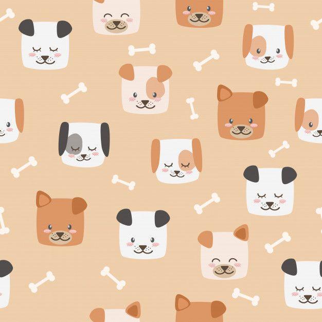 Cute Cartoon Dog Faces With Bones Seamless Pattern Wallpaper