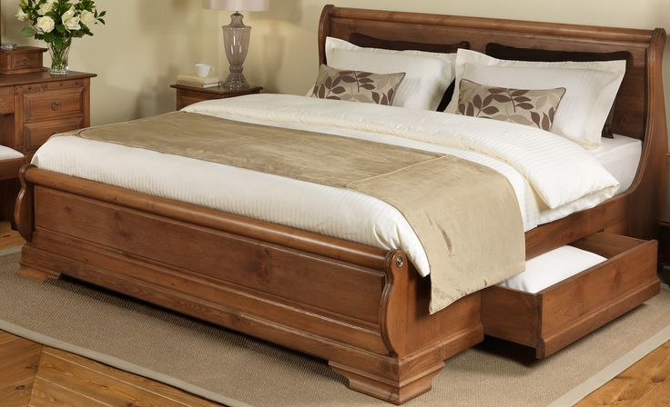 King Size Rustic Varnished Oak Wood Sleigh Bed Frame With Storage Drawers, Fantastic King Size Beds With Storage: Bedroom, Furniture