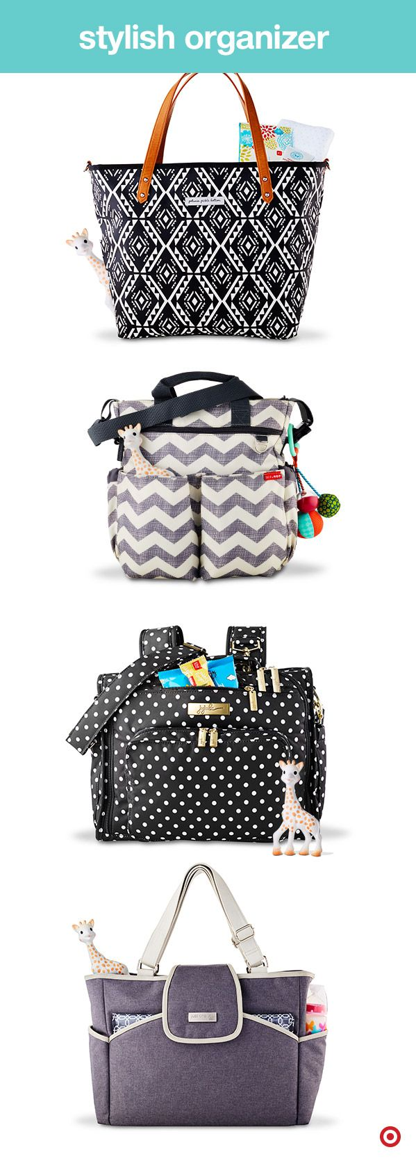 Fashionable and functional, diaper bags come in lots of styles with loads of options — like large pockets, baby bottle holders, zip-out changing pads and more. Plus, they come in a style for everyone, like totes, backpacks, messenger bags and styles specifically for Dad. Choose a diaper bag that fits your style, or get a couple to change out based on your activity and need. What's in your bag?