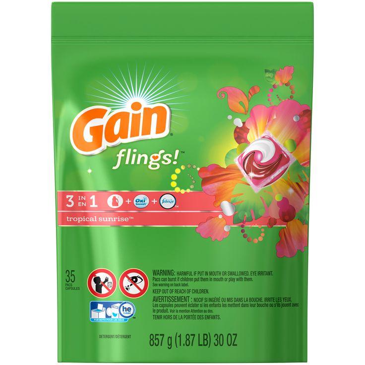 Gain Flings Laundry Detergent Pacs, Tropical Sunrise Scent, 35 count Laundry