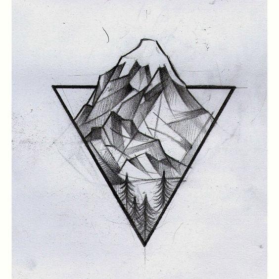 Line Art Tattoo Artists Near Me : Tattoo triangle landscape inktober pinterest