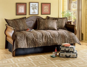Leopard print bedding for day bed!!! :)