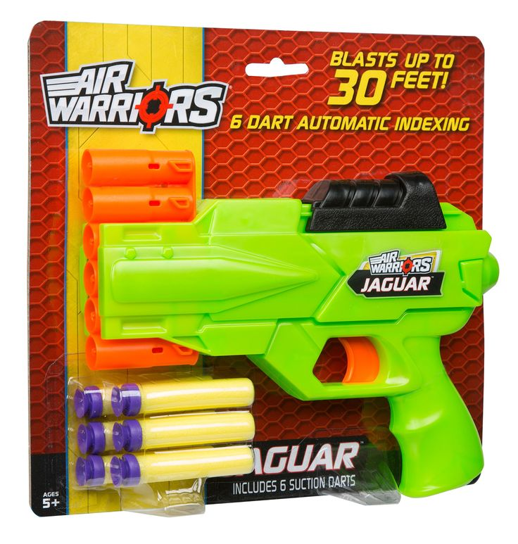 Buzz Bee Toys Air Warriors Jaguar Blaster. Automatic indexing dart clip. Easy pull back top handle. Blasts foam darts up to 30 feet away. Includes blaster and six soft foam suction darts. Recommended for children 6 years of age and older.