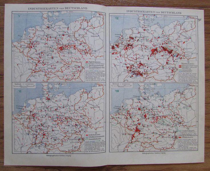 Industriekarten von Deutschland - alte Landkarte Karte old map 1928 1