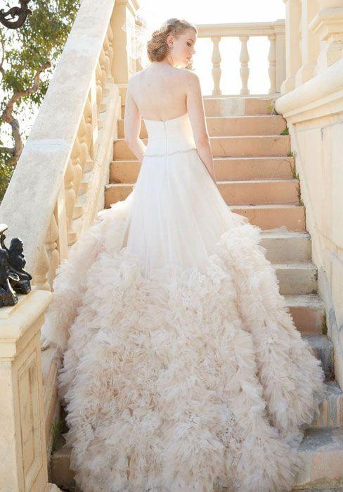 Zipper Court Train A-line Sleeveless Tulle Wedding Dress