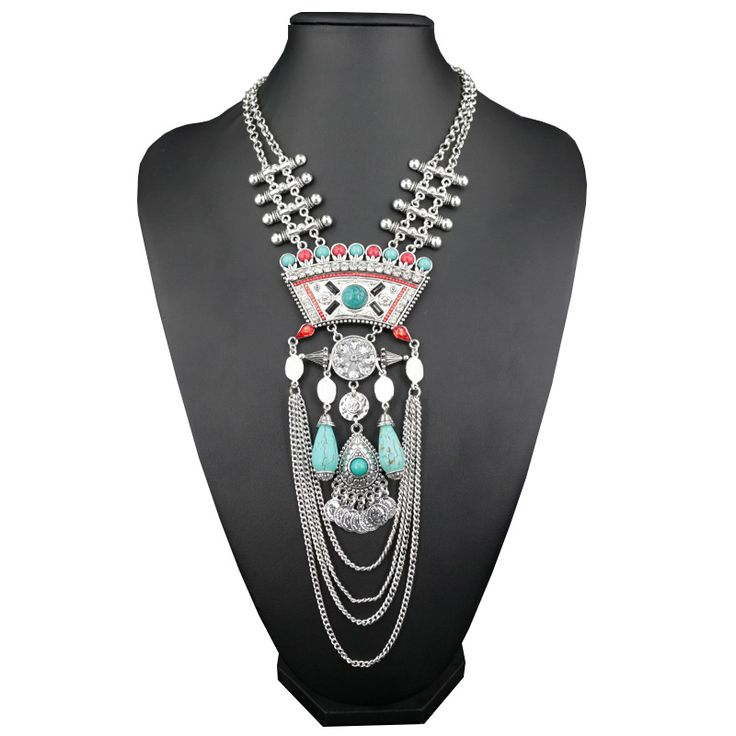 Винтаж Многослойных длинной цепи подвески и ожерелья заявления моды воротники…