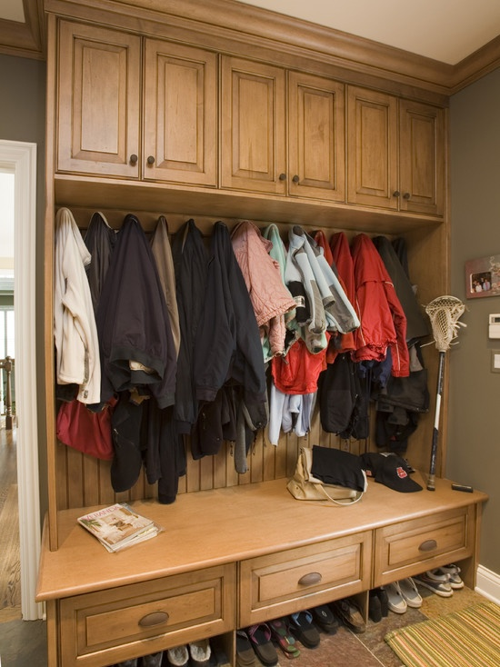 Now this is more like what our mudroom area will really look like!  I kinda wish they all had coats in them so you could get a true picture of how a hardworking mudroom will really look in your own home!