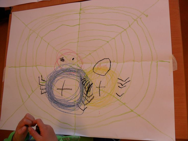 Schrijfdans Herfst: cirkels en lijnen. cd: Kleuterdans 5 nr. 25 t/m 27 Vouw het papier in vieren (rechte kruis) De ll. gaan met krijt over de vouwlijnen en tekenen zelf de diagonalen. De draden: je haalt je krijtje niet van het papier en 'plakt' de draad steeds stevig vast aan de spandraad. Met het afwijkende muziekje laat je de kinderen met beide handen met alle vingers over het papier lopen (spinnetjes lopen) Met cirkelmuziek maken ze de spinnetjes, pootjes, oogjes en natuurlijk een…
