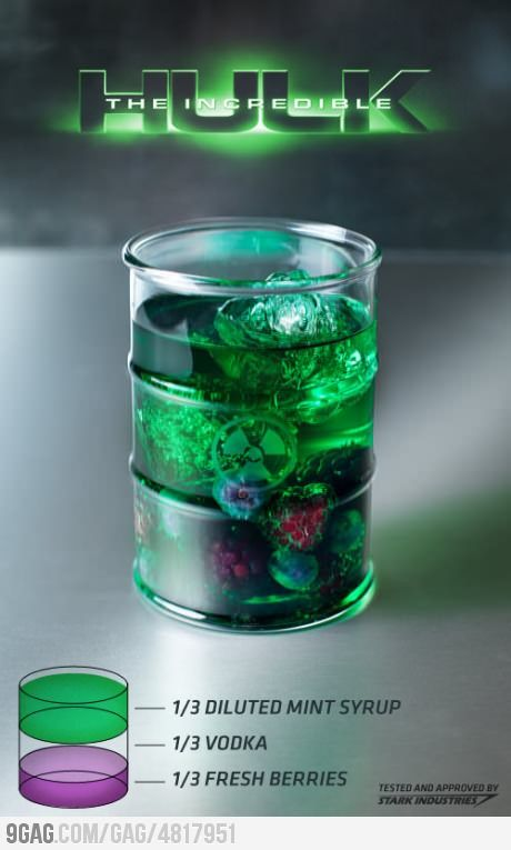 More like the Poison Ivy drink...the real Incredible Hulk drink is Hennessy & Hypnotiq.