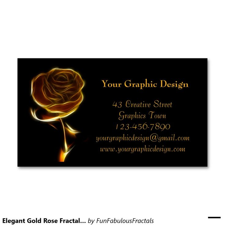 Elegant Gold Rose Fractal Art Business Cards