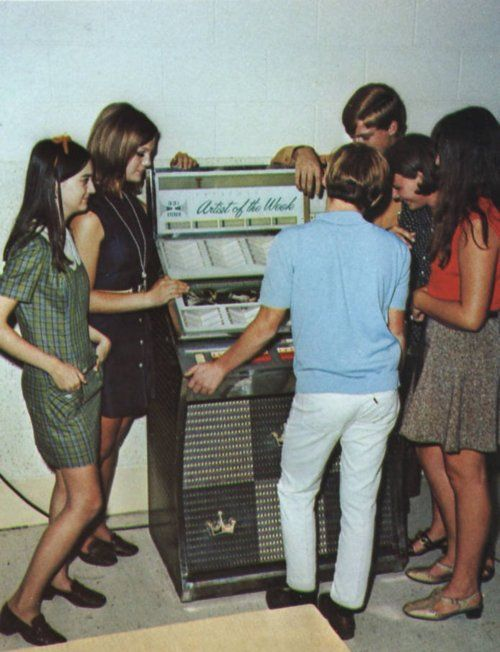 Teenagers around the jukebox, 1960s.