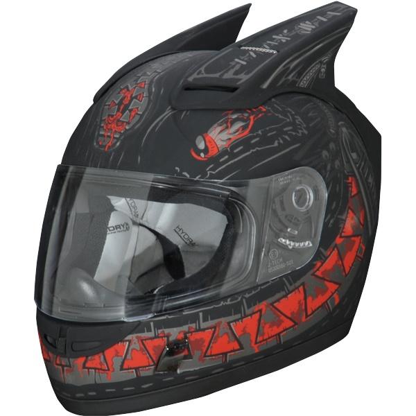 Motorcycle Helmet With Fins Solid Black Coming Up Behind