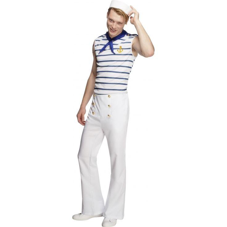 Franse matrozen kostuum  Matroos kostuum voor heren. Matrozen kostuum in de Franse stijl. Het matroos kostuum voor heren bevat de top in de kleur blauw/wit gestreept broek in de kleur wit met gouden knoopjes en een blauw sjaaltje.  EUR 56.95  Meer informatie
