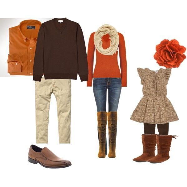Fall family photo- love the mom outfit.. The dad one is a kittle uninspired, though
