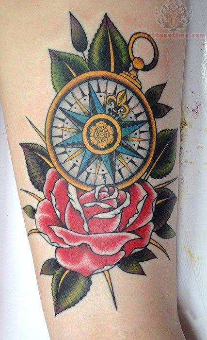 neo traditional compass with sparrows and anchor | Red Rose And Compass Tattoo On Sleeve