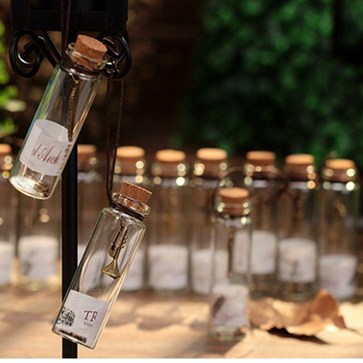 Regali creativi carino mini clear glass tappo di sughero wishing bottiglie fiale vasi contenitori piccolo ornamenti d'epoca decorazione del mestiere in  Materiale: vetro chiaro  Formato della bottiglia: 7*2 cm  12 pz/scatola, peso: 270g   da Bottiglie su AliExpress.com | Gruppo Alibaba