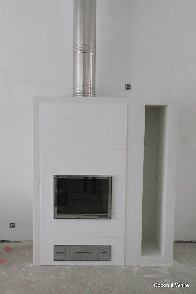 Coconut White - Fireplace getting ready!