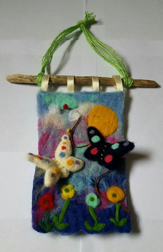 Wet felted butterfly wall hanging