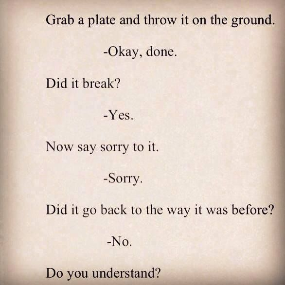 Grab a plate and throw it on the ground.  Okay, done. Did it break? Yes. Now say sorry to it.  Sorry. Did it go back to the way it was before? No. Do you understand?