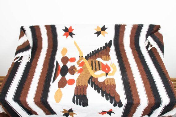 Vintage Woven Navajo Rug Carpet Brown Orange White