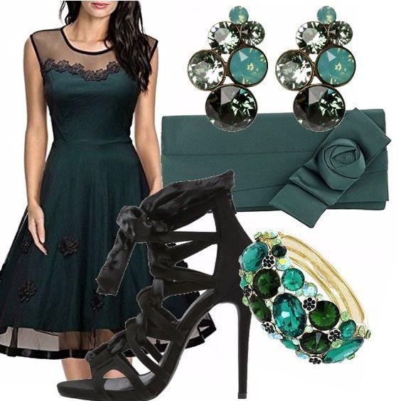 Vestito nero e verde acqua residences