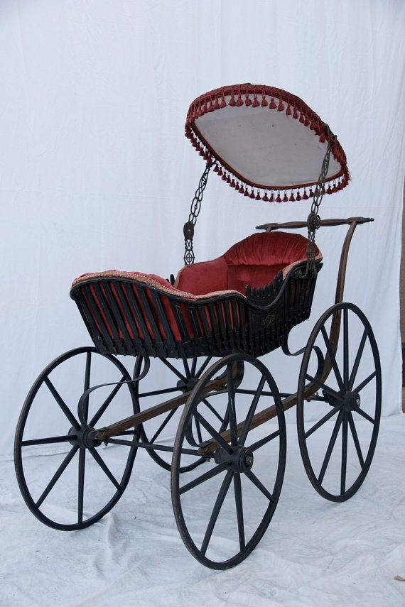 Antique Baby Buggy  1860s Baby Carriage  by CrackedVesselVintage, $650.00