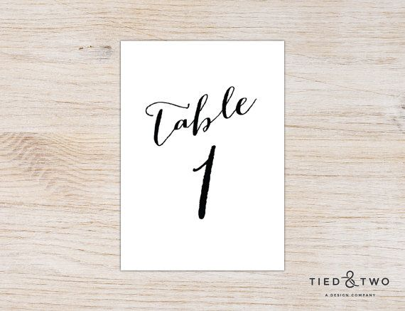 Calligraphy Table Numbers Wedding Table Number by TiedandTwo