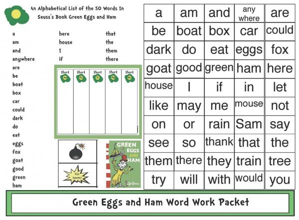 Green Eggs And Ham Word Work Activities Must Sign Up For