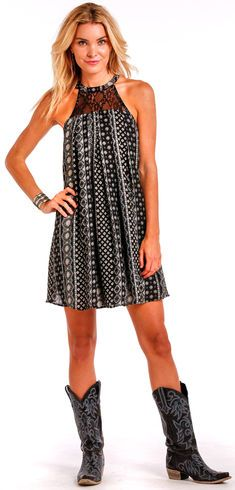 Panhandle Slim Women's Black Print Halter Dress - Country Outfitter