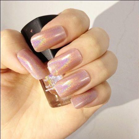 Lahir Cukup Holo Glitter Holographic Nail Polish Enamel 1 Pc 6 ml Warna Pink Nail Varnish Hologram Efek 6 # #6404