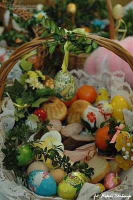 Traditional Easter Basket That Is Blessed By A Priest The