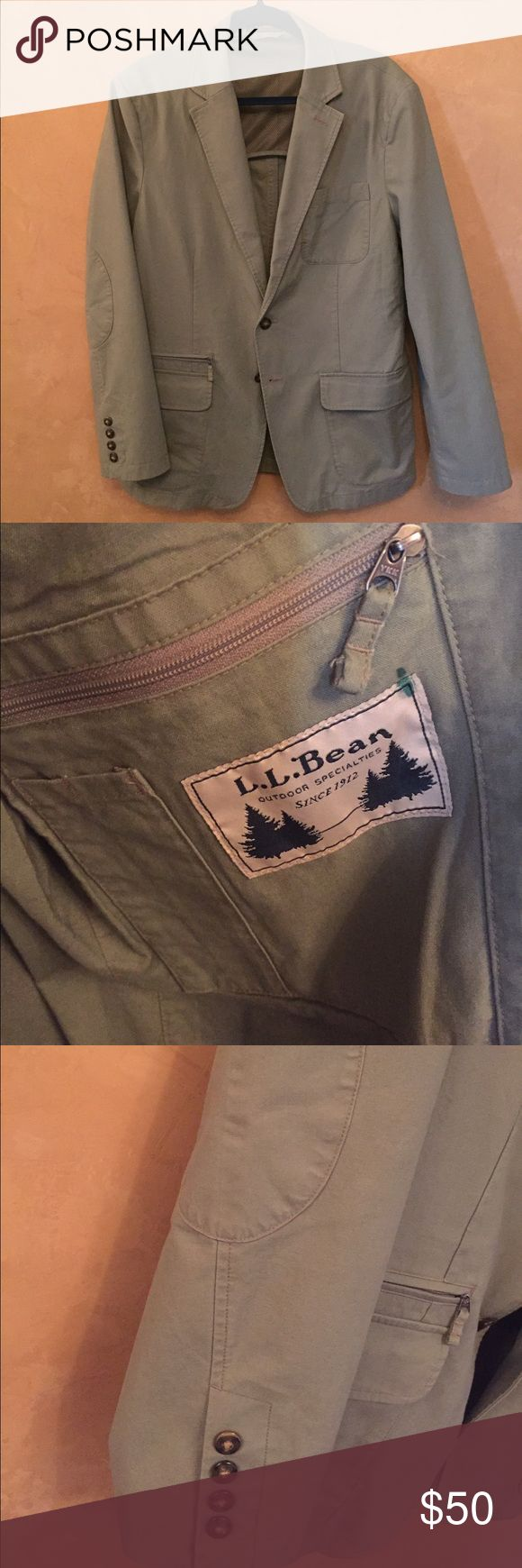 LL BEAN kaki jacket 40R Never worn, 100% cotton: easy care performance travel blazer. Great for spring and summer. Has lots of inside pockets, mesh lining inside top part. Casual outdoor style. LL bean Jackets & Coats