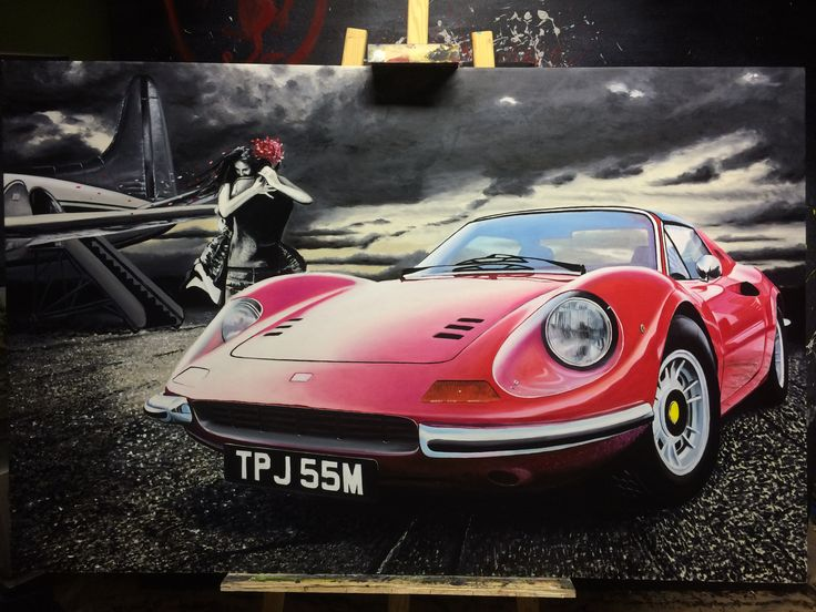 My oilpainting of Ferrari Dino. Size of canvas 1x1,4 meter.