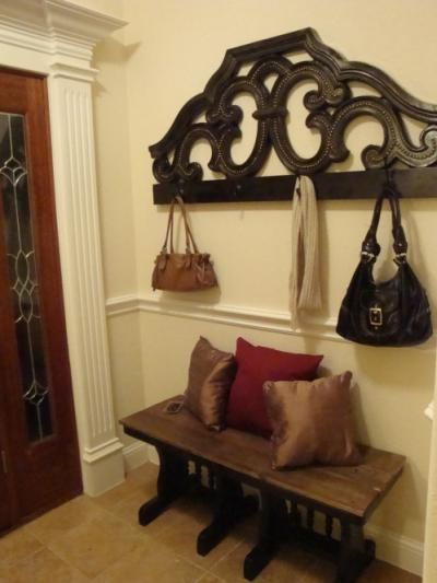 headboard repurposed into a coat rack~ great for entry