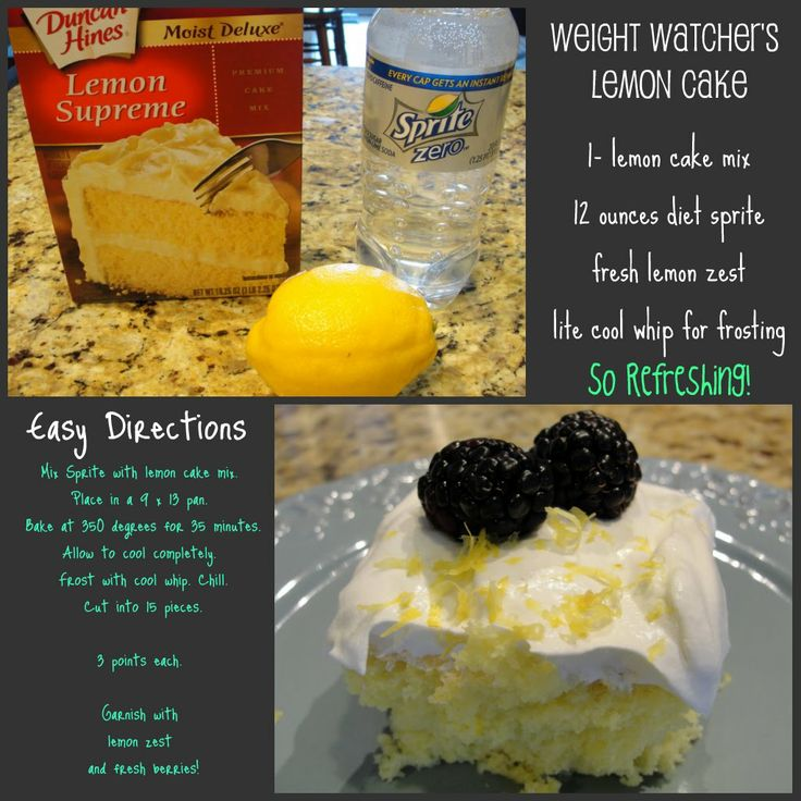 A Weight Watchers Lemon Cake Recipe  1 box yellow cake mix  12 oz diet sprite  1 lemon, grated for lemon zest  lite cool whip for frosting    bake@350 degrees in 9x13 pan for 35 minutes. allow to cool completely. frost with cool whip and chill. cut into 15 squres and add lemon zest and fresh berries to serve. each servinv is 3 points want it!!!!!!