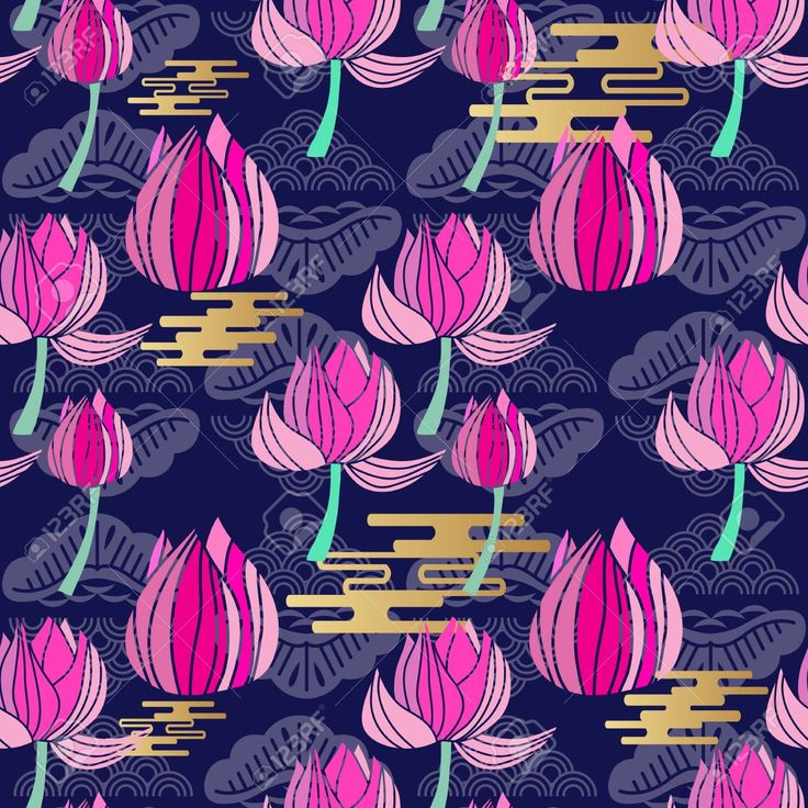 Beautiful seamless pattern with flowers lotus. Tropical