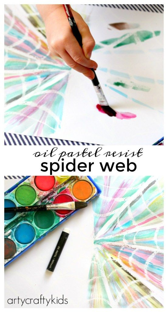 Arty Crafty Kids - Art - Art Projects for Kids - Oil Pastel Resist Spider Web                                                                                                                                                                                 More