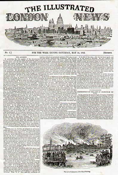 illustrated london news - 1842 - primeiro jornal editado com ilustração. Era um jornal semanário