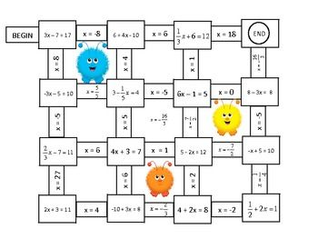 Algebra Solving One and Two Step Equations Mazes