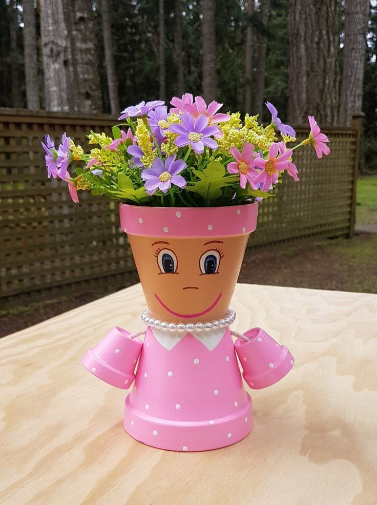 Little Miss Clay Pot People Terracotta Planter Clay Pot People Clay Flower Pots Clay Pots