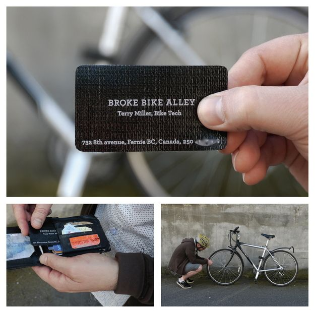 Canadian bike shop's business cards are tire patches. | 20 Uniquely Brilliant Business Cards