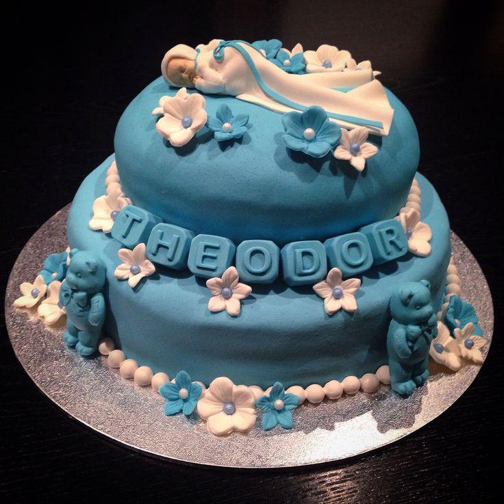 Chocolate cake with sugarpaste  Babtism cake