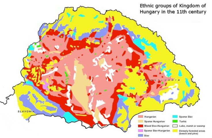 Ethnic map of Kingdom of Hungary in the 11th century based on place-names