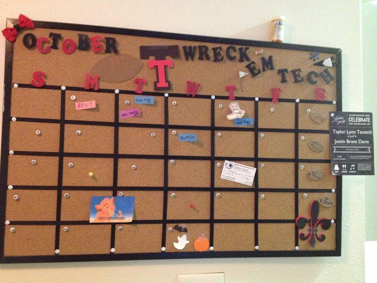 TTU corkboard Calendar