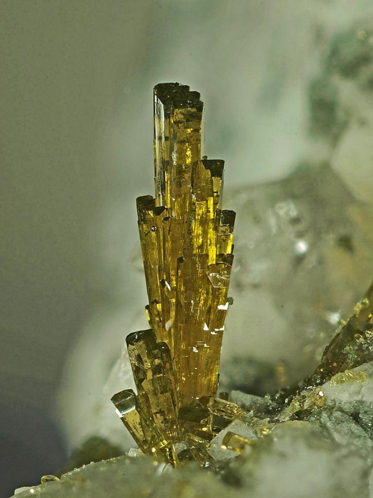Epidote bundle of crystals, Gneiss quarries, Arvigo, Calanca Valley, Switzerland