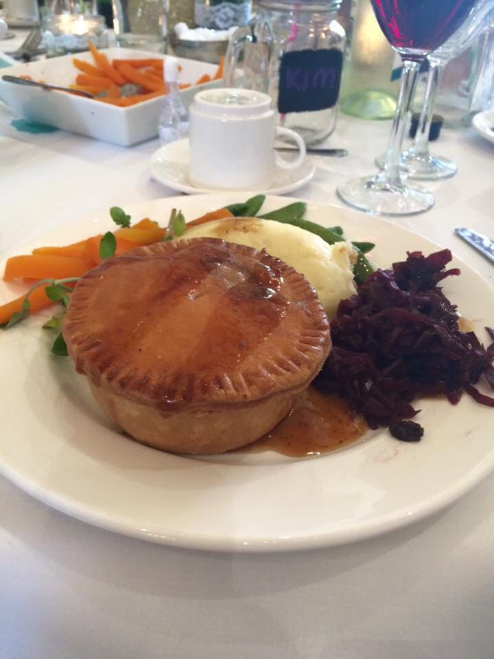 Wedding breakfast - steak and ale pie, mashed potato and ...