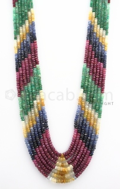 4.00 to 4.70 mm - Emerald, Ruby, Sapphire, Multi Sapphire Faceted Beads - 489.50 carats - 16 to 20 inches (MSFBwE1019)