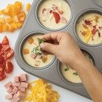 mini omelets – bake in muffin tin @350 for 20-25 min….a whole week of breakfast! why haven't I thought of this?