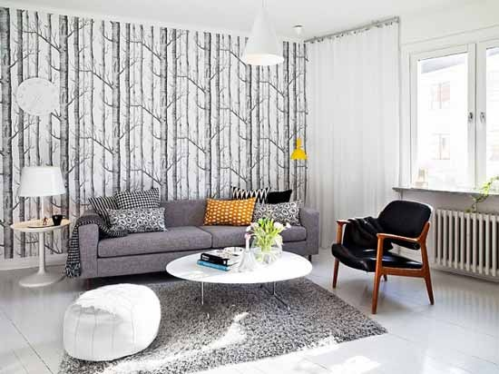 Modern Living Room. I love this!!: Scandinavian Living, Modern Living, Living Rooms Design, Living Spaces, Chairs, Trees Wallpapers, Interiors Design, Grey, Swedish Styles