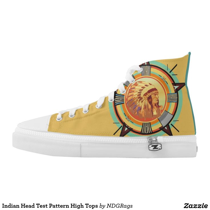 Indian Head Test Pattern High Tops Printed Shoes by NDGRags
